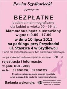 Bezpłatne badania mammograficzne !
