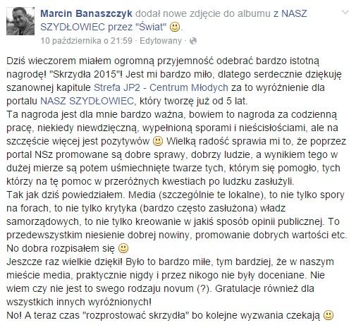 """Portal Nasz Szydłowiec zdobywcą """"Skrzydeł 2015"""" w kategorii media"""