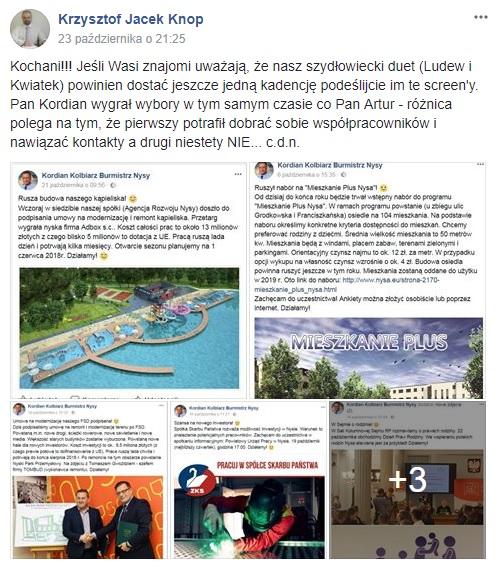 """Trwa internetowa """"dyskusja"""" na linii – Krzysztof Knop  burmistrz Artur Ludew"""