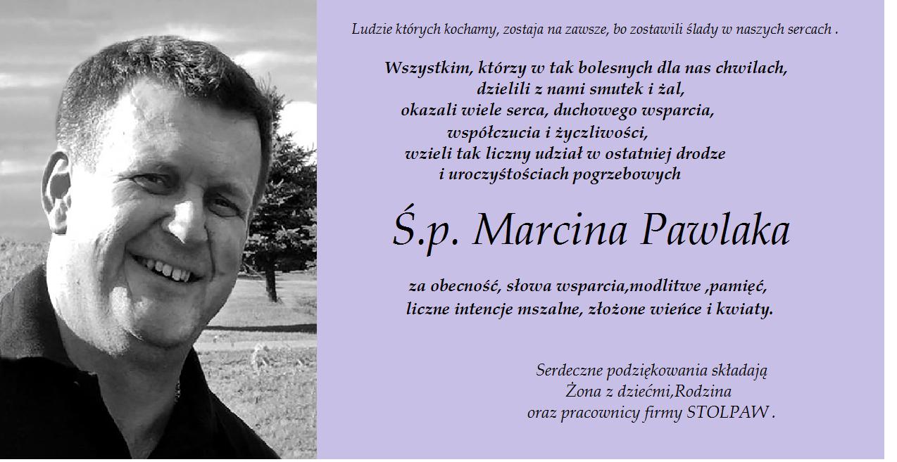 Najbliżsi Marcina Pawlaka składają podziękowania