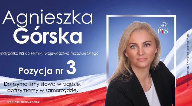 Agnieszka Górska – kandydatka do Sejmiku Województwa Mazowieckiego