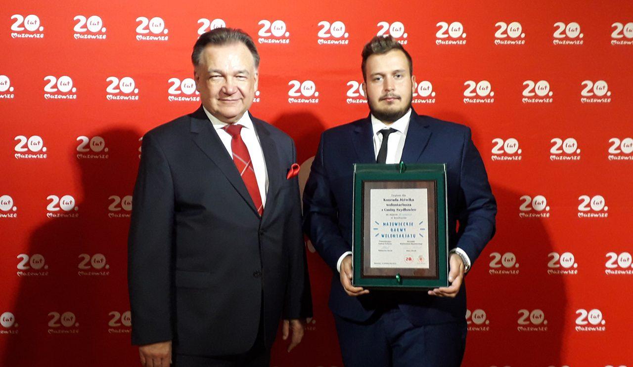 Konrad Jóźwik z wyróżnieniem od marszałka województwa mazowieckiego