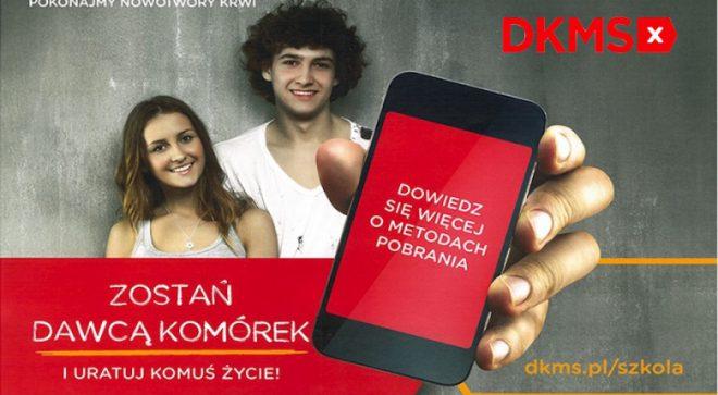 Zespół Szkół Ogólnokształcących im. Henryka Sienkiewicza w Szydłowcu włączył się  w akcję Fundacji DKMS pod hasłem # KOMÓRKOMANIA.
